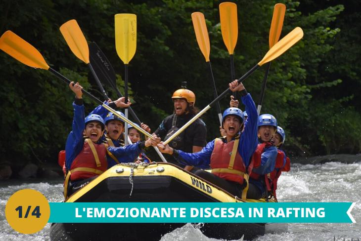 L'avventuroso Rafting:con esaltanti discese in gommone lungo il fiume pagaiando tra un'onda e una cascata