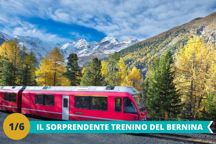 Trenino Rosso del Bernina e ghiacciaio, una intera giornata dedicata allascoperta della Svizzera a bordo dello storico Trenino Rosso del Bernina fino ad arrivare al ghiacciaio Morteratsch, il ghiacciaio più grande del Bernina