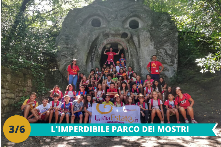 Il fantastico Parco dei Mostri di Bomarzo: dove dai massi prendono vita animali giganteschi, eroi omerici, draghi o semplici sirene e dee romane, attraverso una serie di tappe all'interno del Sacro Bosco