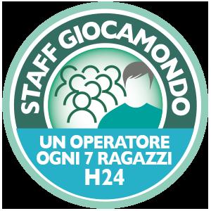 STAFF GIOCAMONDO H24 CON RAPPORTO UN OPERATORE OGNI 7 RAGAZZI